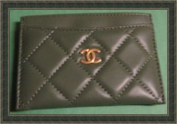 Chanel Green Leather Double Card Holder