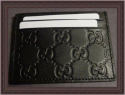 GUCCI 473927 Gucci Signature Business Card Case Holder Leather