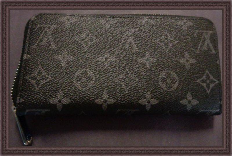 Image 1 of Louis Vuitton Monogram Black Zip Around Long Wallet For Women