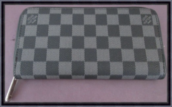 Black & Gray Checkered Long Zippy Leather Classy Luxury Wallet For Women