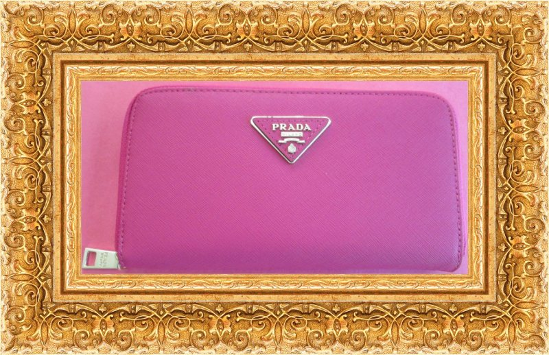Image 0 of Fuchsia Pink Long Leather Zippy Wallet For Women Luxury Classy Style