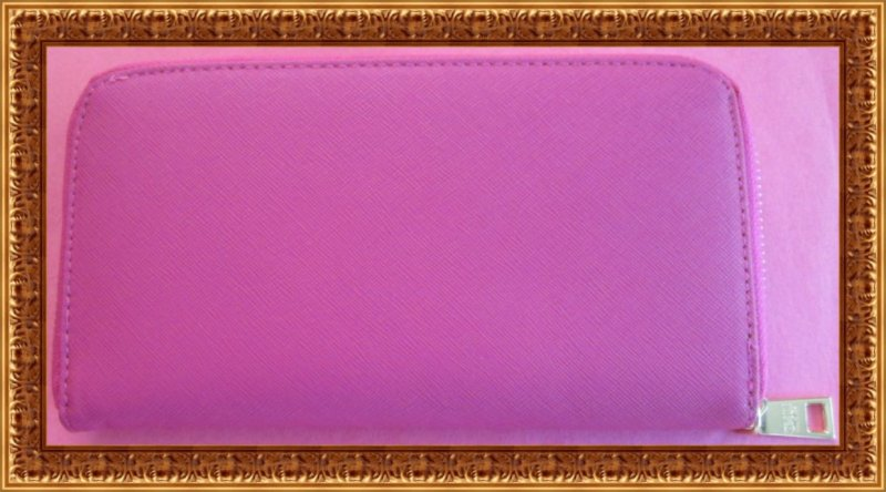 Image 1 of Fuchsia Pink Long Leather Zippy Wallet For Women Luxury Classy Style