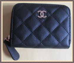 Black Soft Leather Luxury Classy Short Zippy Purse With Gold Tone Finish