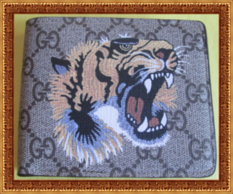 Image 0 of Brown Leather Bifold Classy Luxury Tiger Design Wallet For Men