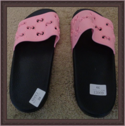 Pink & Black Pool Slides For Teens Or Women Luxury Classy Style Size 8.5