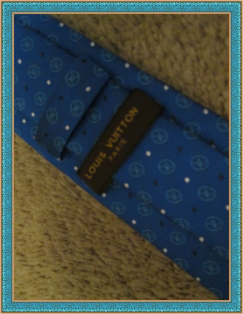 Image 2 of 100% Silk Luxury Style Necktie For Men Blue White & Black In Color