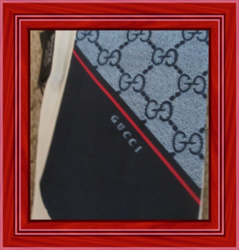 Image 1 of Blue Red & White Purse Scarf Luxury Classy Style 100% Silk