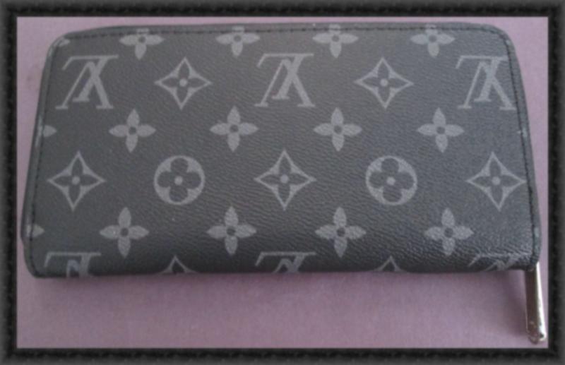 Image 1 of Black & Gray Long Leather Zippy Luxury Classy Wallet For Women