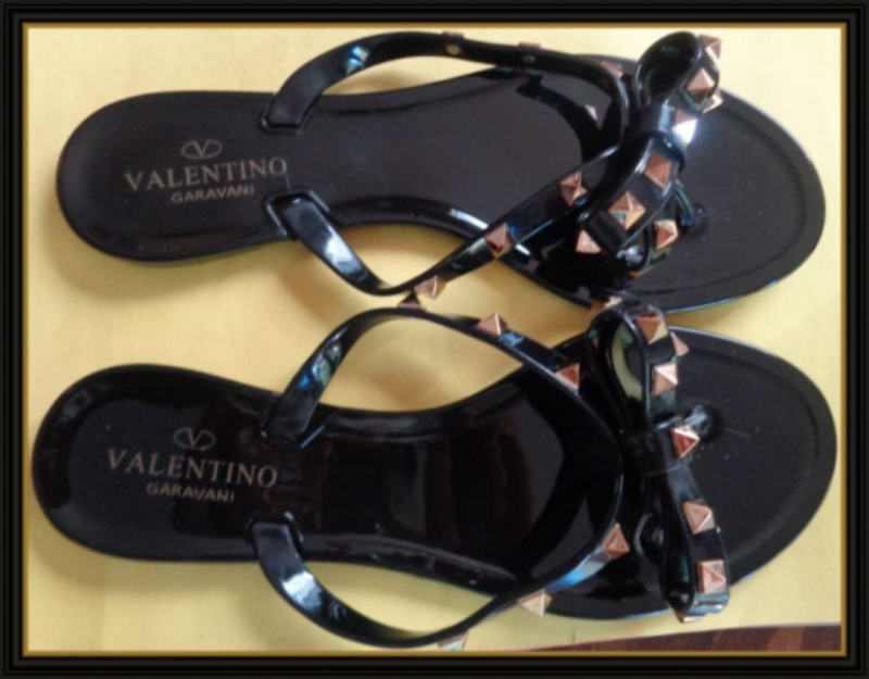Image 0 of Black With Gold Stud/Bow Design Jelly Flip Flops Size 7.5 For Teens Or Women