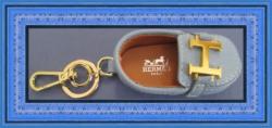 Blue Leather Shoe Keychain With Gold Tone Finish Luxury Classy