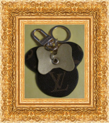 Brown & Gold Leather Luxury Classy Keychain For Women With Gold In Color Finish