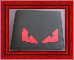 Red/Black Evil Eye Design Black Leather Bifold Luxury Classy Style Wallet