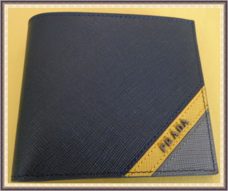 Image 0 of Gray Blue & Yellow In Color Leather Luxury Classy Bifold Wallet