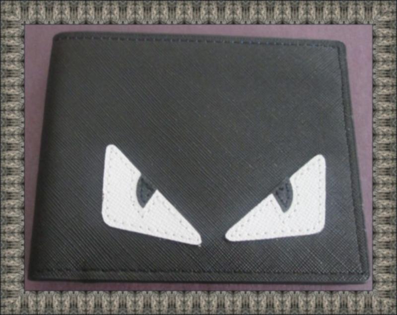 Image 0 of White/Black Evil Eye Design Black Leather Classy Luxury Bifold Wallet For Men