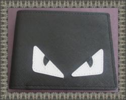 White/Black Evil Eye Design Black Leather Classy Luxury Bifold Wallet For Men