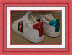 White Red Green & Yellow Bee Design Shoes Leather Luxury Classy Size 6.5