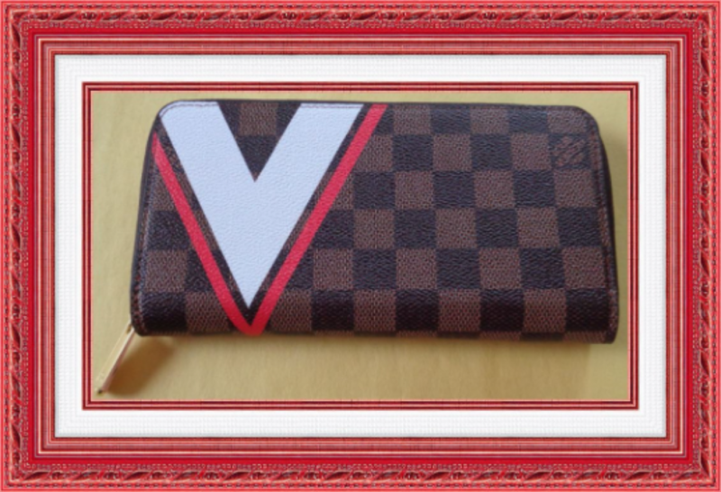 Image 0 of Long Zippy Brown White & Red Wallet With Gold Tone Finish For Women