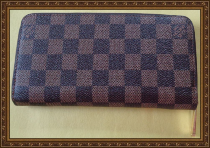 Image 1 of Long Zippy Brown White & Red Wallet With Gold Tone Finish For Women