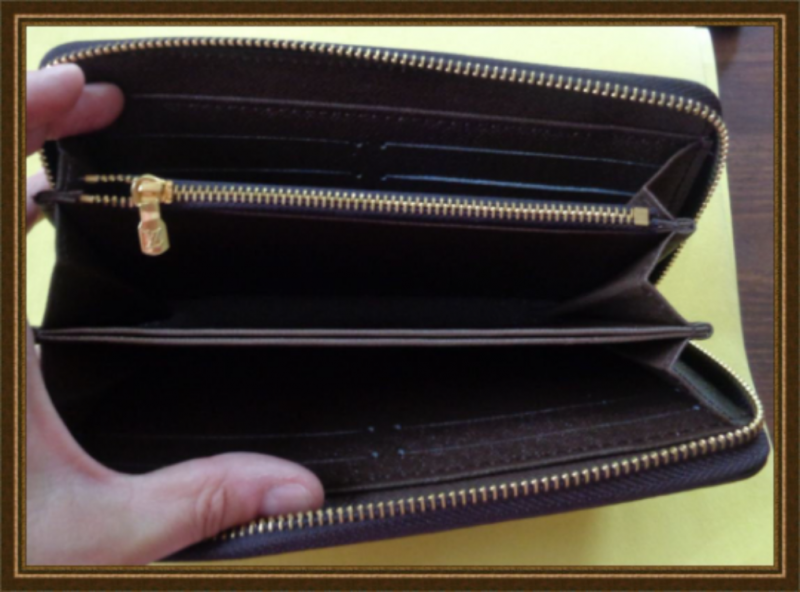 Image 2 of Long Zippy Brown White & Red Wallet With Gold Tone Finish For Women
