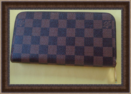 Image 1 of Long Zippy Wallet Brown Yellow & White Checkered Leather Classy Luxury