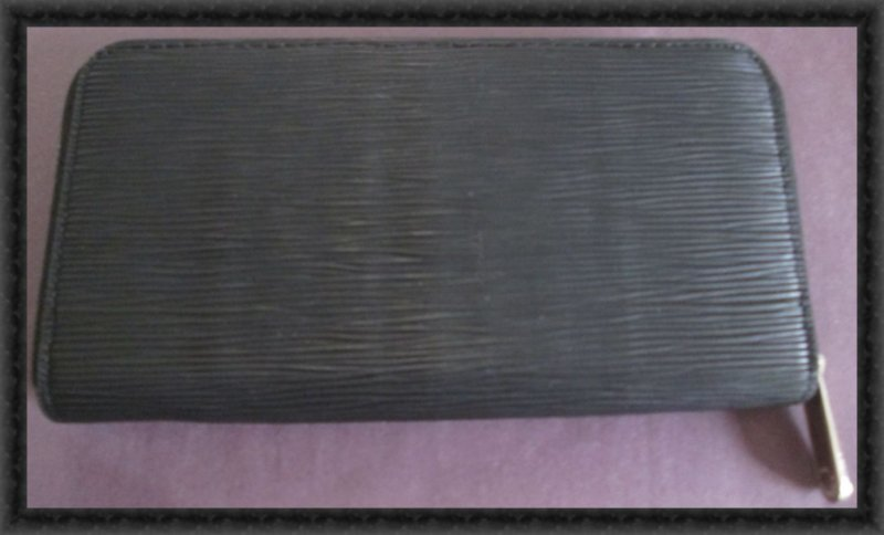 Image 1 of Long Black Leather Classy Luxury Zippy Wallet For Women With Silver Tone Finish