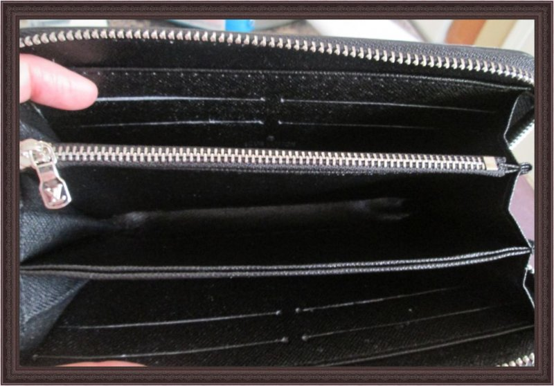Image 2 of Long Black Leather Classy Luxury Zippy Wallet For Women With Silver Tone Finish