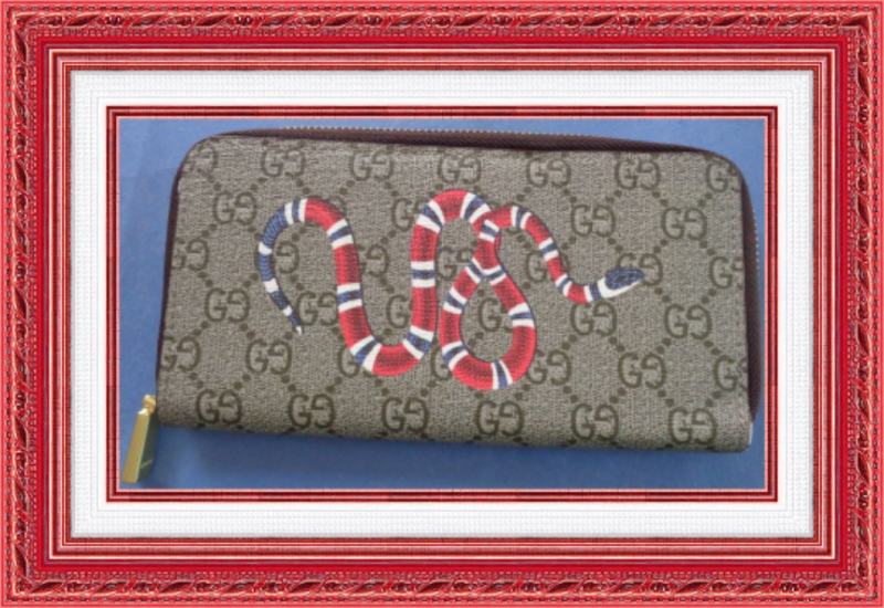 Image 0 of Brown Long Zippy Leather Wallet Classy Luxury With Snake Design Gold Tone Finish