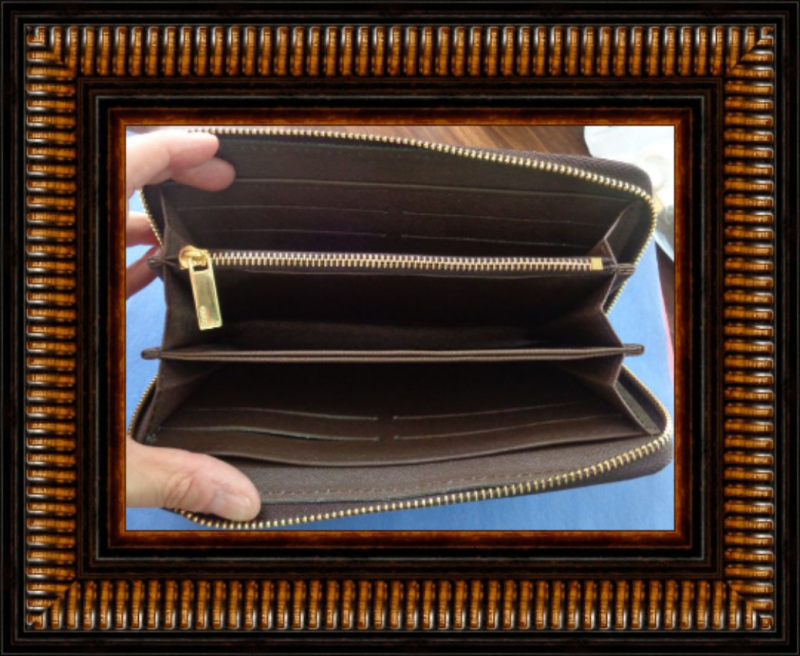 Image 2 of Brown Long Zippy Leather Wallet Classy Luxury With Snake Design Gold Tone Finish