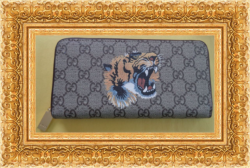 Brown Long Leather Zippy Luxury Classy Wallet With Tiger Design For Women