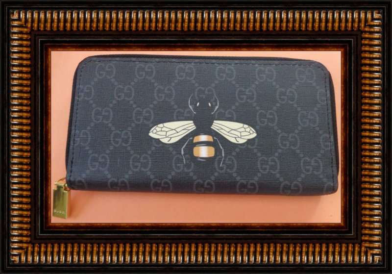 Image 0 of Black Leather Long Zippy Luxury Classy Wallet With Bee Design Gold Tone Finish