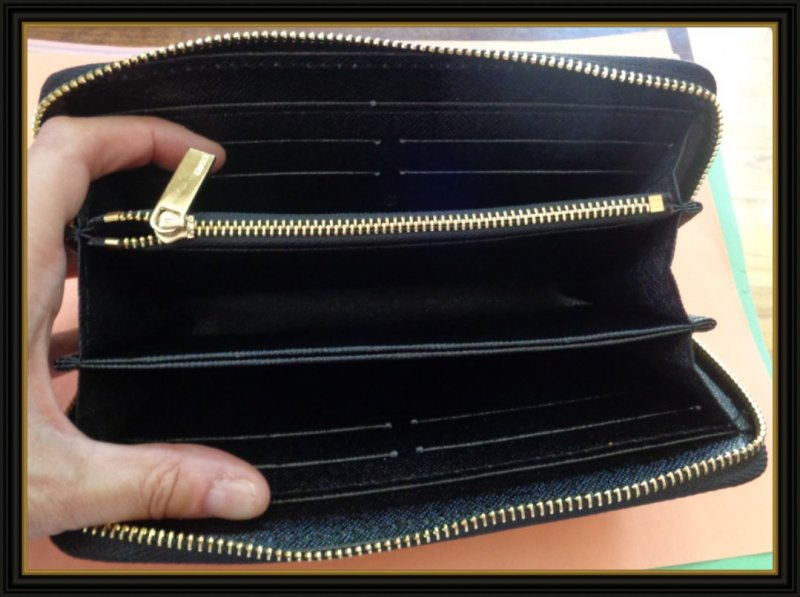 Image 2 of Black Leather Long Zippy Luxury Classy Wallet With Bee Design Gold Tone Finish