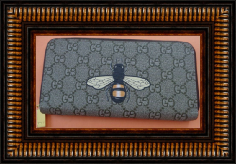 Image 0 of Brown Leather Long Zippy Wallet With Bee Design Luxury Classy Style