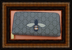 Brown Leather Long Zippy Wallet With Bee Design Luxury Classy Style