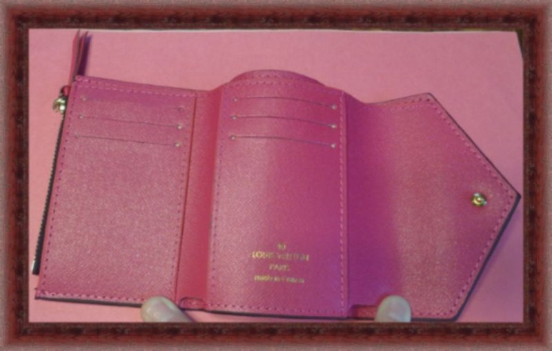 Image 2 of Brown & Plum Red Small Leather Luxury Classy Wallet For Teens Or Women