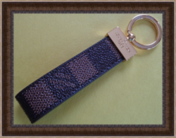 Brown Leather Checkered Luxury Classy Keychain Unisex With Gold Tone Finish