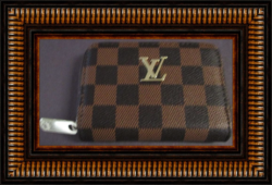 Brown Checkered Leather Luxury Small Zippy Purse For Women Gold Tone Finish