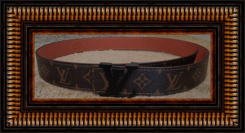 Image 0 of Brown Leather Monogram Luxury Classy Belt Unisex Size 46/115 Black Tone Finish