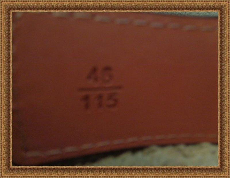 Image 2 of Brown Leather Monogram Luxury Classy Belt Unisex Size 46/115 Black Tone Finish