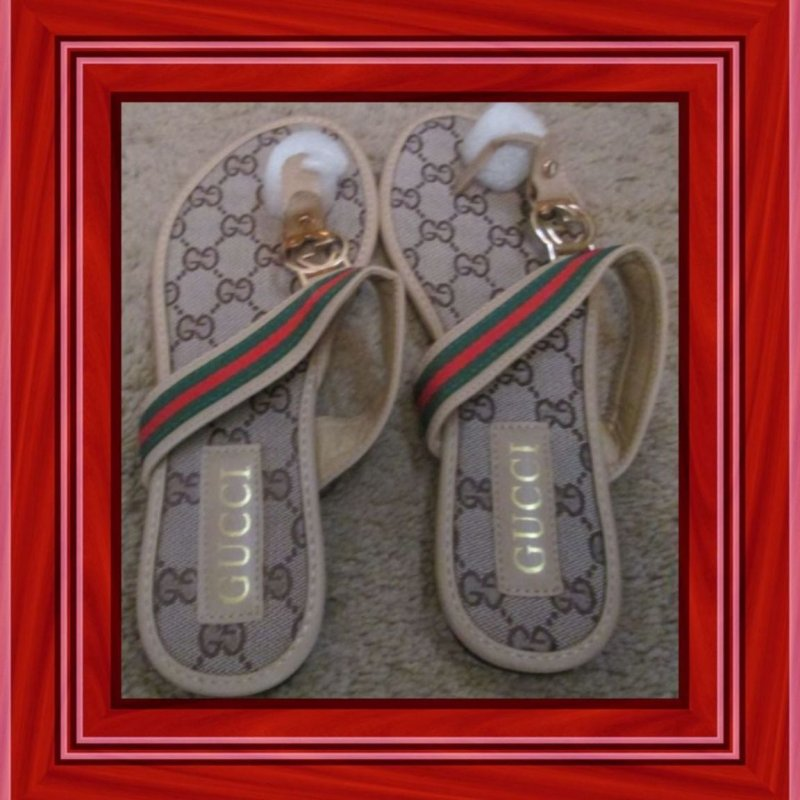 Image 0 of Brown Red & Green Thong Sandals For Women Size 7