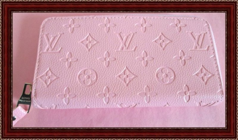 Image 0 of Pink Leather Monogram Long Zippy Wallet For Women