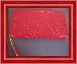 Red Leather Monogram Long Wallet For Women