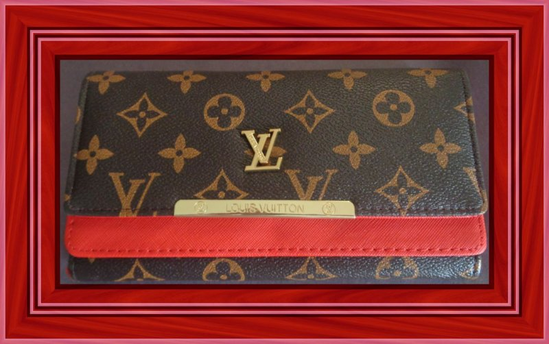 Image 0 of Brown & Red Long Wallet For Women