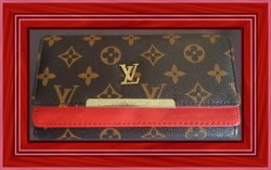 Brown & Red Long Wallet For Women