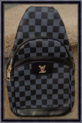 Gray & Black Checkered Sling Bag Unisex