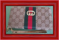 Brown Red & Green Wristlet For Women