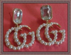 Gold Tone Dangle Earrings With Clear Crystal & White Faux Pearls For Women