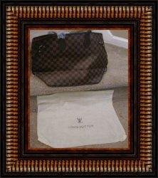 Brown Leather Checkered Large Shoulder Handbag For Women