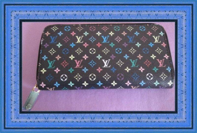 Image 0 of Black/Multicolored Long Zippy Wallet For Women
