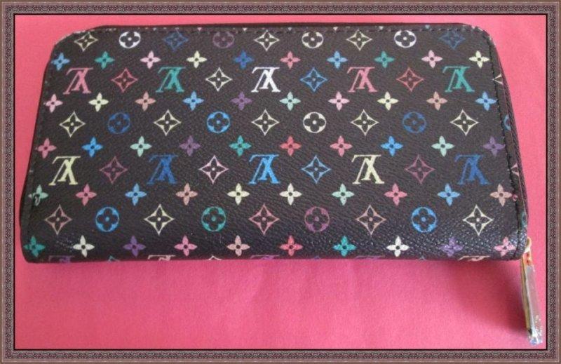 Image 1 of Black/Multicolored Long Zippy Wallet For Women