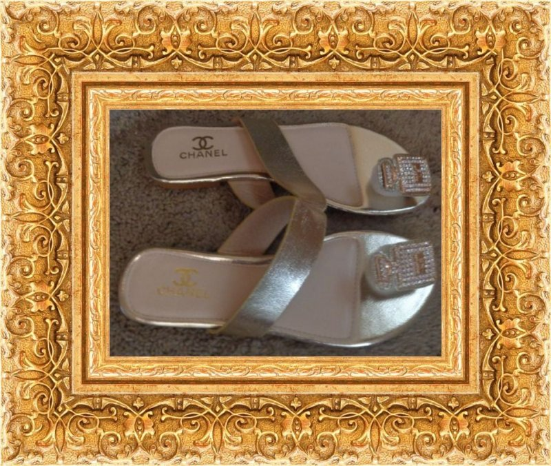 Image 0 of Gold Tone Sandals For Women Size 6.5 With Clear Crystals